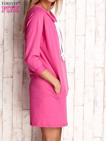 Ciemnoróżowa sukienka z troczkami                                  zdj.                                  3