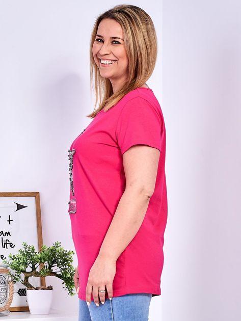Ciemnoróżowy t-shirt z błyszczącą gwiazdą PLUS SIZE                              zdj.                              5
