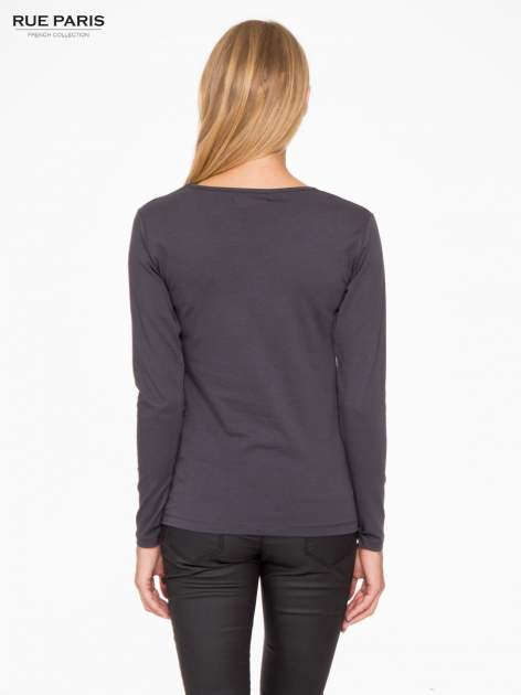 Ciemnoszara basicowa bluzka z długim rękawem                                  zdj.                                  4