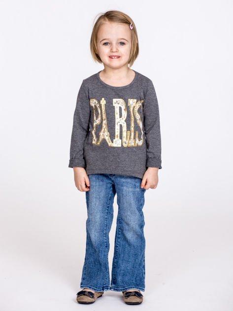 Ciemnoszara bawełniana bluzka dziewczęca z napisem PARIS                              zdj.                              5