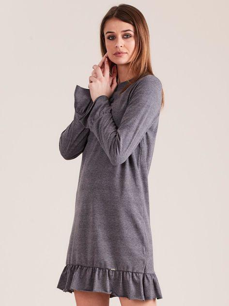 Ciemnoszara bawełniana sukienka z falbanką                              zdj.                              3