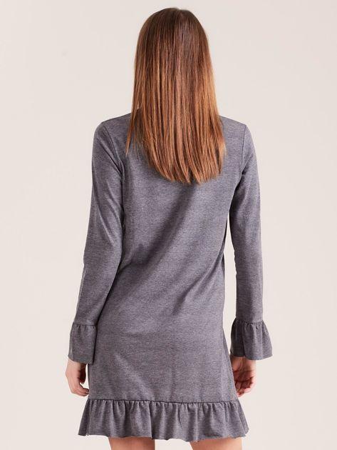 Ciemnoszara bawełniana sukienka z falbanką                              zdj.                              2