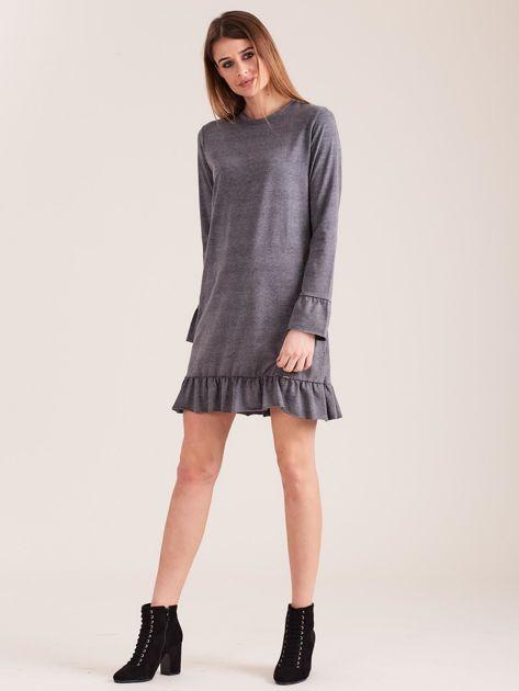 Ciemnoszara bawełniana sukienka z falbanką                              zdj.                              4