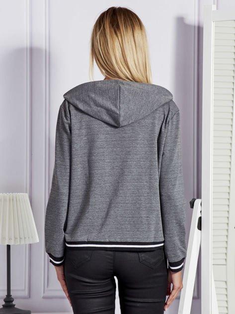 Ciemnoszara bluza damska z kapturem i sznurowaniem                              zdj.                              2