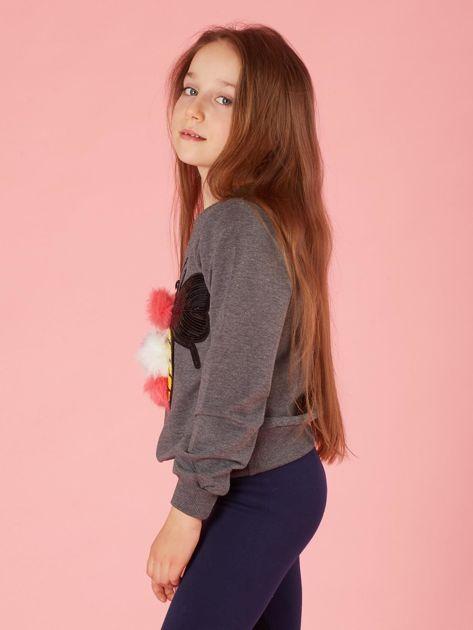 Ciemnoszara bluza dla dziewczynki z kolorową aplikacją                              zdj.                              3