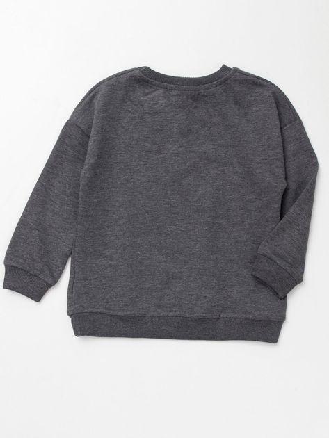 Ciemnoszara bluza dresowa dla dziewczynki z cekinami                              zdj.                              4
