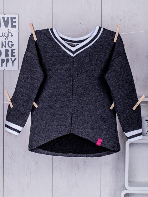Ciemnoszara bluza dziewczęca V-neck ze ściągaczami                              zdj.                              4