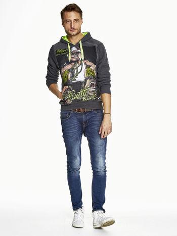 Ciemnoszara bluza męska z raperskim nadrukiem                               zdj.                              4