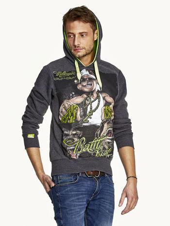 Ciemnoszara bluza męska z raperskim nadrukiem                               zdj.                              5
