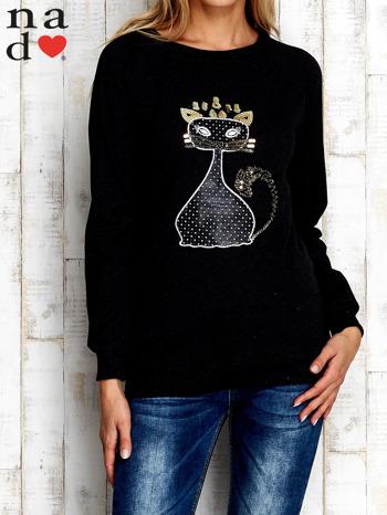 Ciemnoszara bluza z cekinowym kotem                                  zdj.                                  1