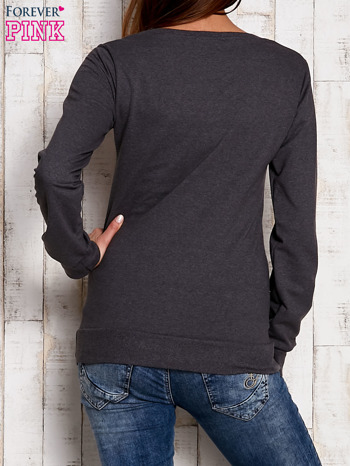 Ciemnoszara bluza z komiksowym nadrukiem                                  zdj.                                  3