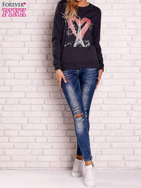 Ciemnoszara bluza z motywem paryskim                                  zdj.                                  2
