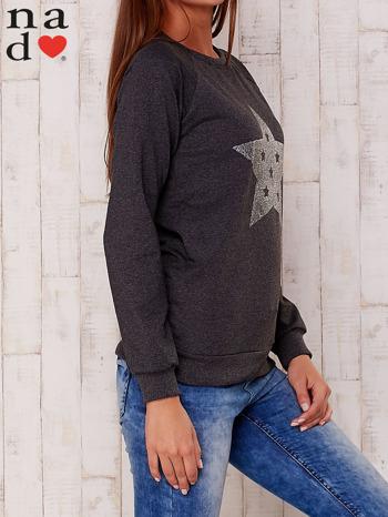 Ciemnoszara bluza z nadrukiem gwiazdy                                  zdj.                                  3