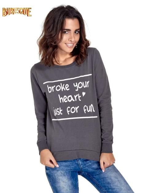 Ciemnoszara bluza z napisem BROKE YOUR HEART JUST FOR FUN                                  zdj.                                  1