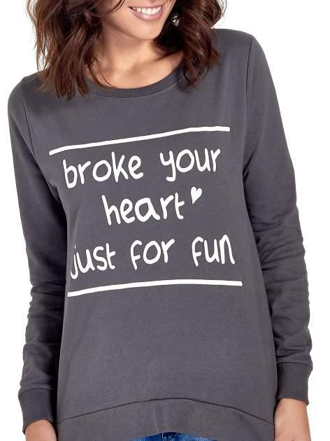 Ciemnoszara bluza z napisem BROKE YOUR HEART JUST FOR FUN                                  zdj.                                  5