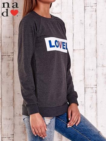 Ciemnoszara bluza z napisem LOVELY                                  zdj.                                  4