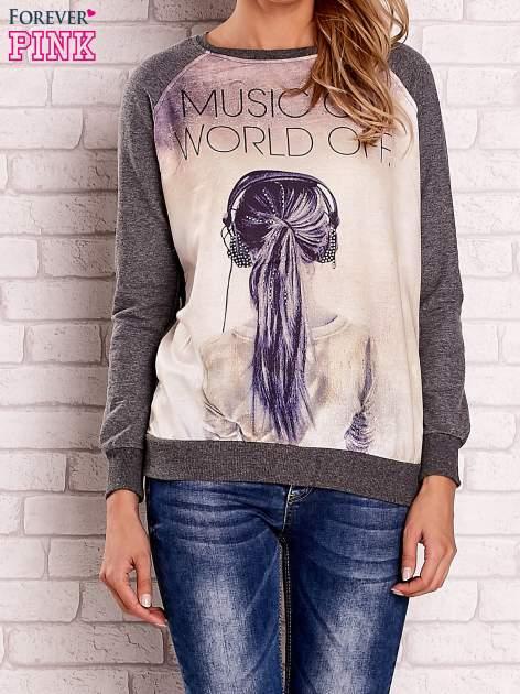 Ciemnoszara bluza z napisem MUSIC ON WORLD OFF                                  zdj.                                  1