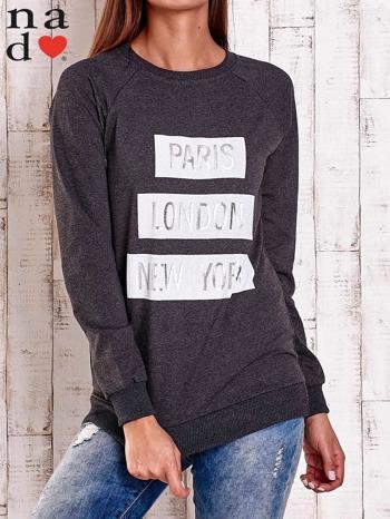 Ciemnoszara bluza z napisem PARIS LONDON NEW YORK                                  zdj.                                  2