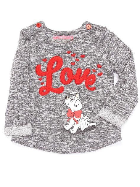 Ciemnoszara bluzka dla dziewczynki z bajkowym nadrukiem                              zdj.                              1