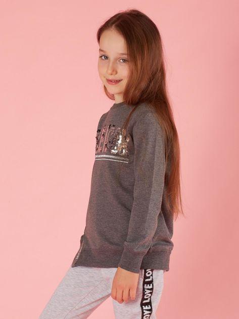 Ciemnoszara bluzka dziewczęca z cekinowym napisem                              zdj.                              3