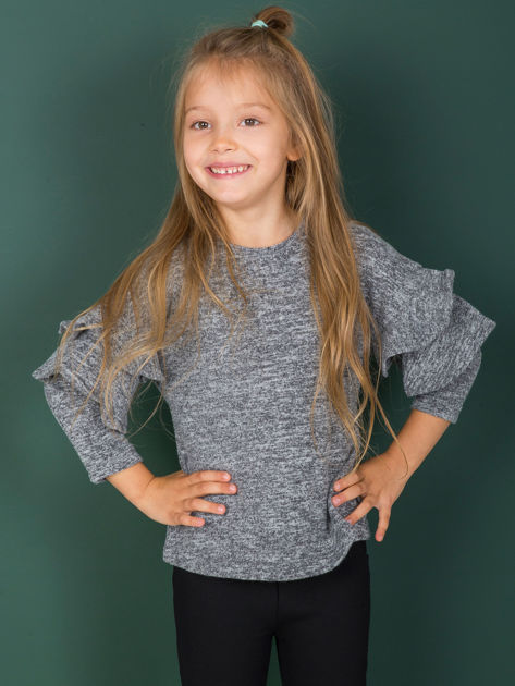 Ciemnoszara bluzka dziewczęca z falbankami na rękawach                              zdj.                              2