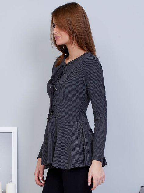 Ciemnoszara bluzka lace up z baskinką                                  zdj.                                  3