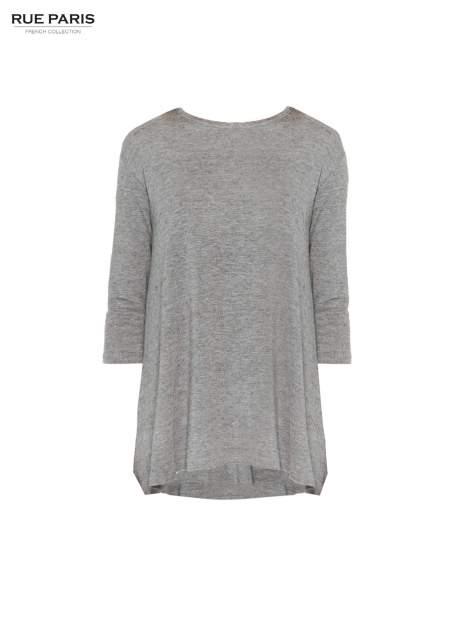 Ciemnoszara bluzka o rozkloszowanym kroju z rękawami 3/4                                  zdj.                                  5