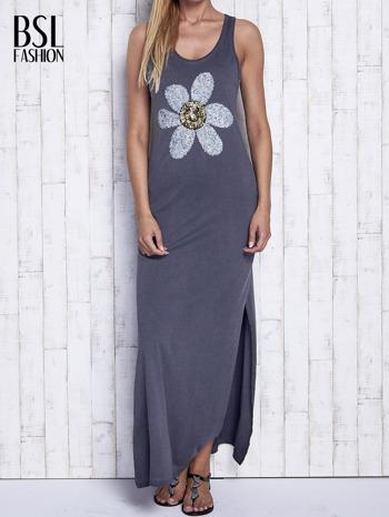 Ciemnoszara dekatyzowana sukienka maxi z cekinowym kwiatem                                  zdj.                                  1