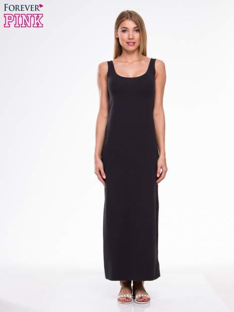 Ciemnoszara długa sukienka maxi na ramiączkach                                  zdj.                                  1