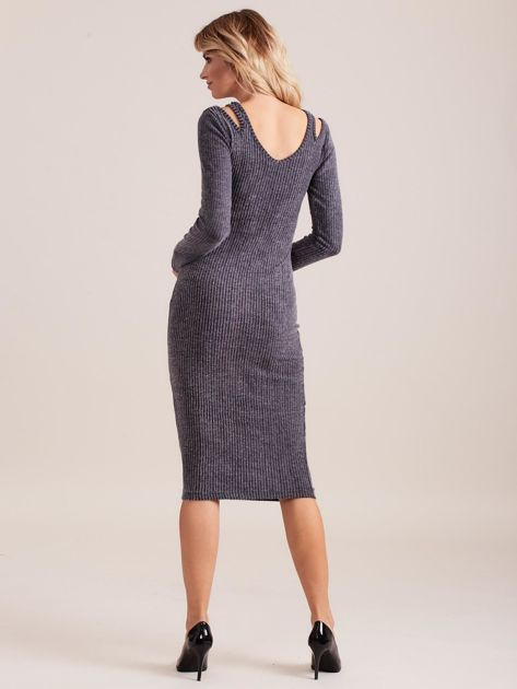 Ciemnoszara dopasowana sukienka cold shoulder                              zdj.                              2