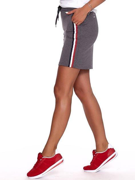 Ciemnoszara dresowa spódnica mini z kieszeniami i paskami                              zdj.                              7