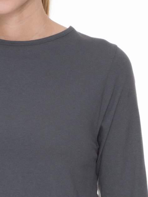 Ciemnoszara gładka bluzka z rękawem 3/4                                  zdj.                                  5