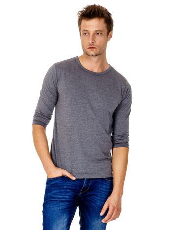 Ciemnoszara gładka koszulka męska longsleeve                                  zdj.                                  2