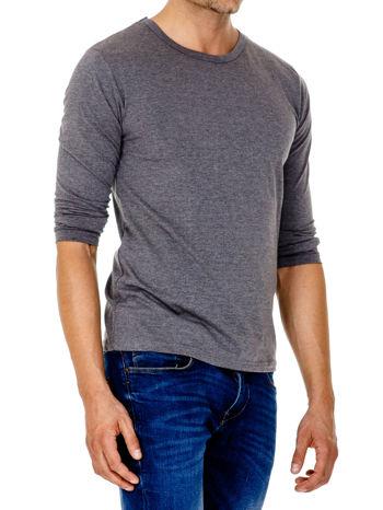 Ciemnoszara gładka koszulka męska longsleeve                                  zdj.                                  4