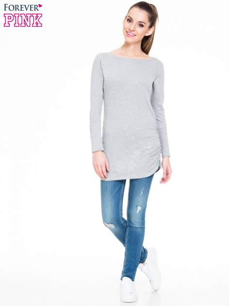 Ciemnoszara melanżowa bluzka tunika z marszczonym dołem                                  zdj.                                  2