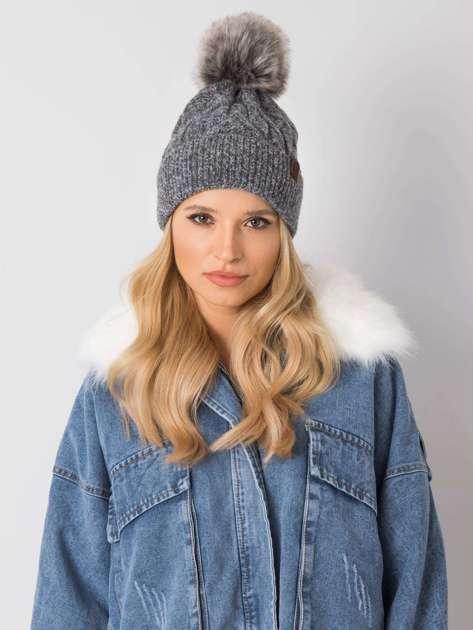 Ciemnoszara melanżowa czapka na zimę z pomponem