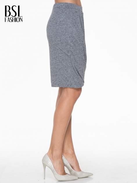 Ciemnoszara melanżowa spódnica z drapowaniem                                  zdj.                                  4