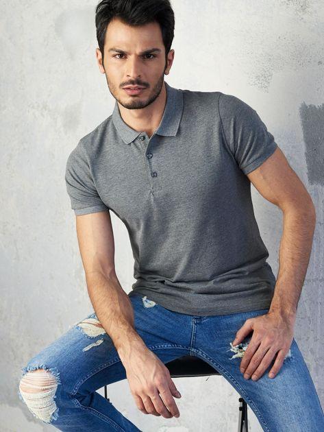 Ciemnoszara męska koszulka polo
