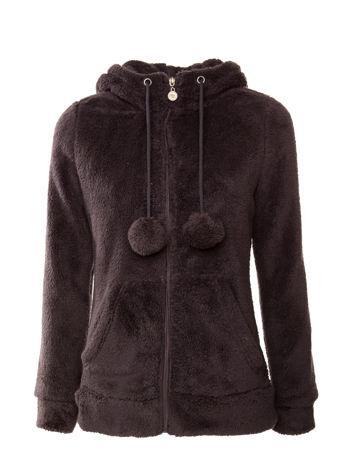 Ciemnoszara pluszowa bluza z kapturem z uszkami i pomponami                                  zdj.                                  1