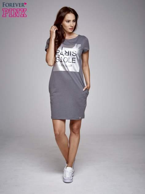 Ciemnoszara sukienka dresowa ze srebrnym printem PARIS                                  zdj.                                  2