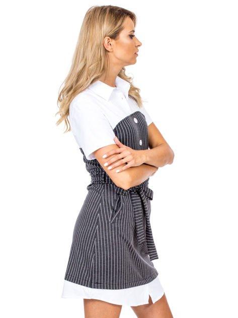 Ciemnoszara sukienka w paski z kołnierzykiem                              zdj.                              3