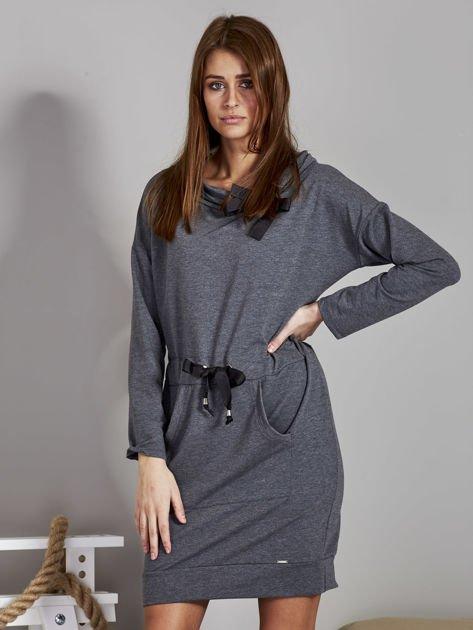 Ciemnoszara sukienka z wstążkami                               zdj.                              1