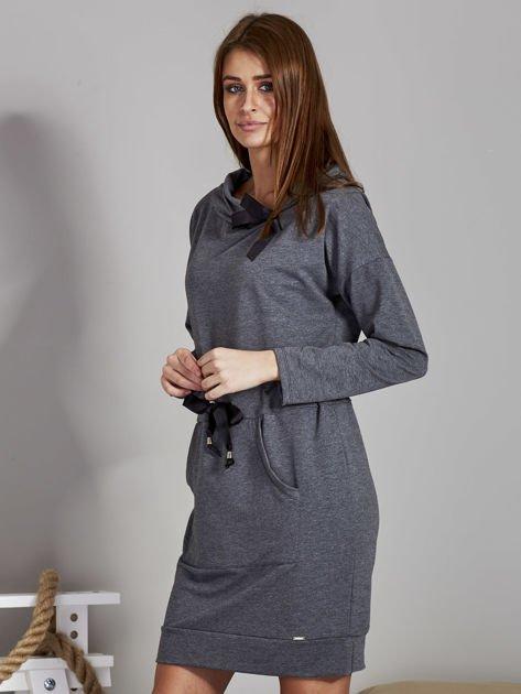 Ciemnoszara sukienka z wstążkami                               zdj.                              3