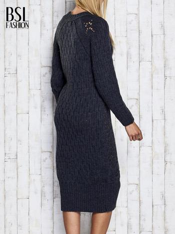 Ciemnoszara swetrowa sukienka midi                                  zdj.                                  5