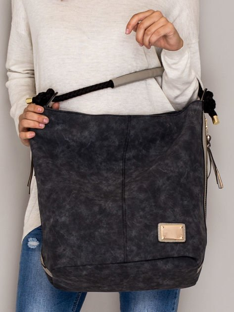 Ciemnoszara torba z bocznymi suwakami                                  zdj.                                  1