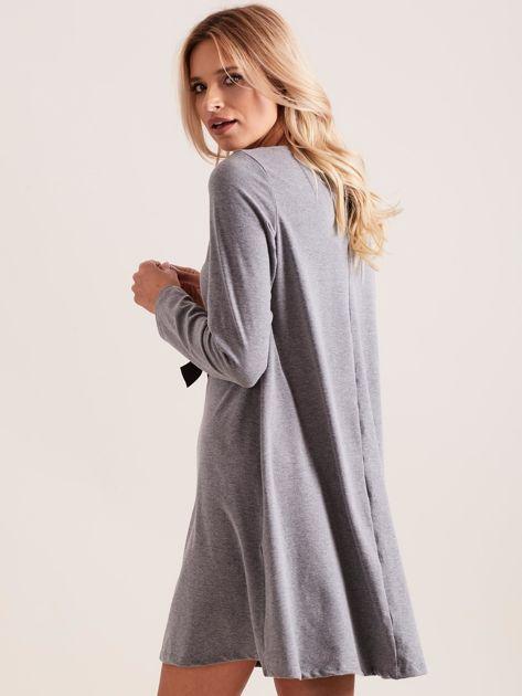 Ciemnoszara sukienka bawełniana z kokardą                              zdj.                              5