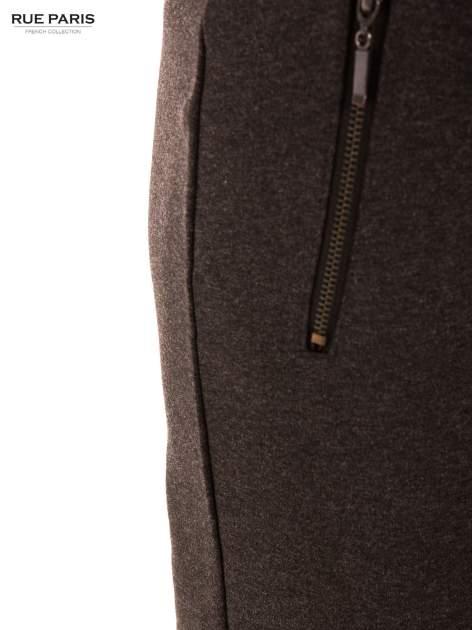 Ciemnoszare dzianinowe spodnie dzwony w kant                              zdj.                              6