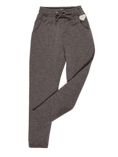 Ciemnoszare spodnie dresowe dla dziewczynki                              zdj.                              1