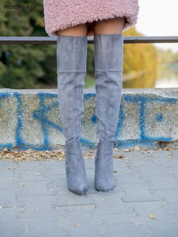 Ciemnoszare zamszowe kozaki na szpilkach za kolano