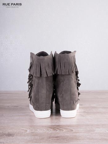 Ciemnoszare zamszowe sneakersy Aravia z frędzelkami na koturnach                                  zdj.                                  4